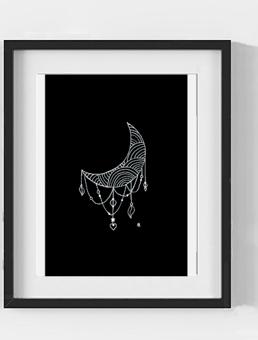 Abstract Crescent Moon A3 A4 A5 Print