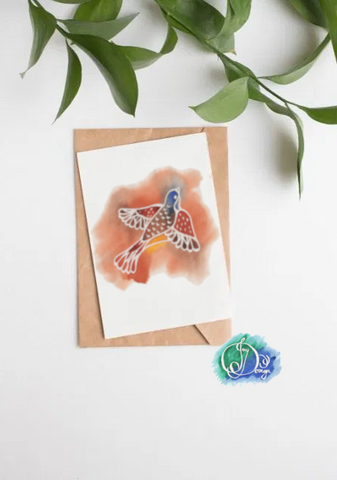 Positive Vibes Motivational Quote Message Card: Free Flying Bird Watercolour Birthday Notecard
