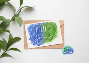 Positive Vibes Motivational Quote Message Card: Hello Friend Watercolour Birthday Notecard