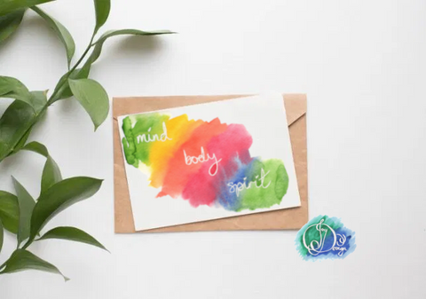 Positive Vibes Motivational Quote Card: Mind Body Spirit Rainbow Watercolour Birthday Notecard