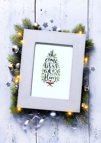 Christmas Print -Oh Come Let Us Adore Him A3, A4, A5.