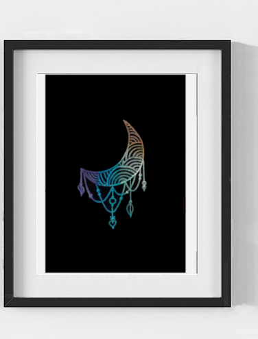 Rainbow Abstract Crescent Moon Print Digital Download