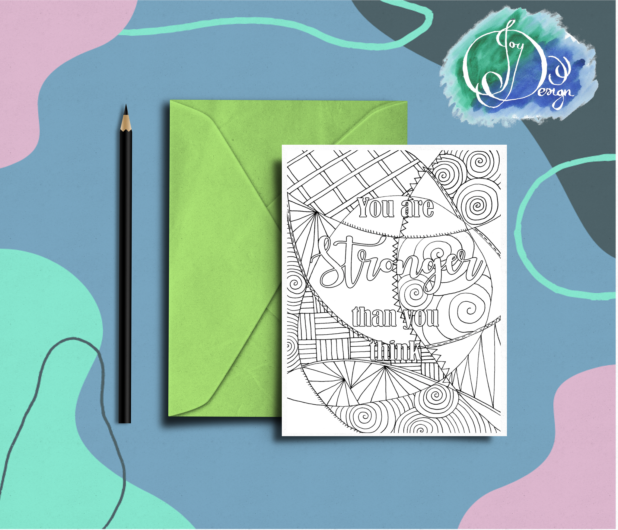Positive Vibes Motivational Colouring Card Birthday Notecard