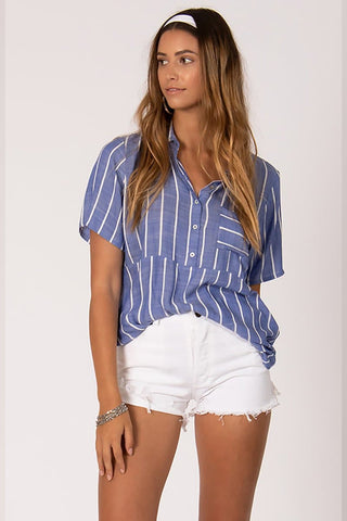 Sisstr Striped Out Woven Top Denim
