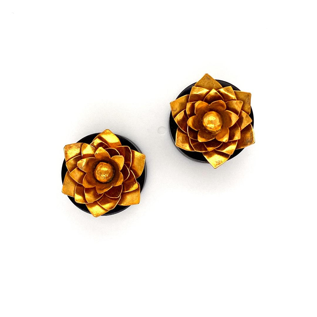 24 k Gold Plated Lotus Ornate Artisan Plugs  3/4
