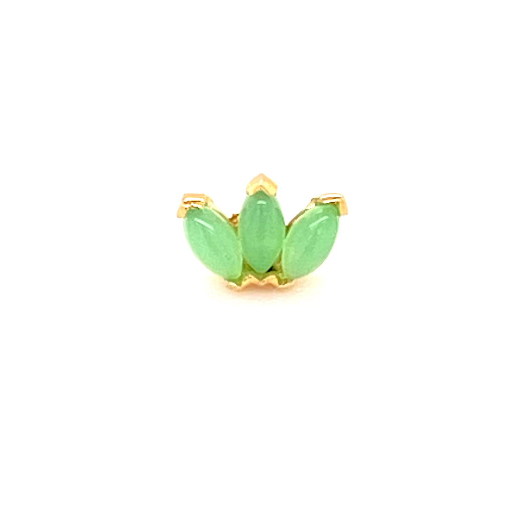BVLA 14k Yellow Gold Triple Marquise Fan with Chrysoprase
