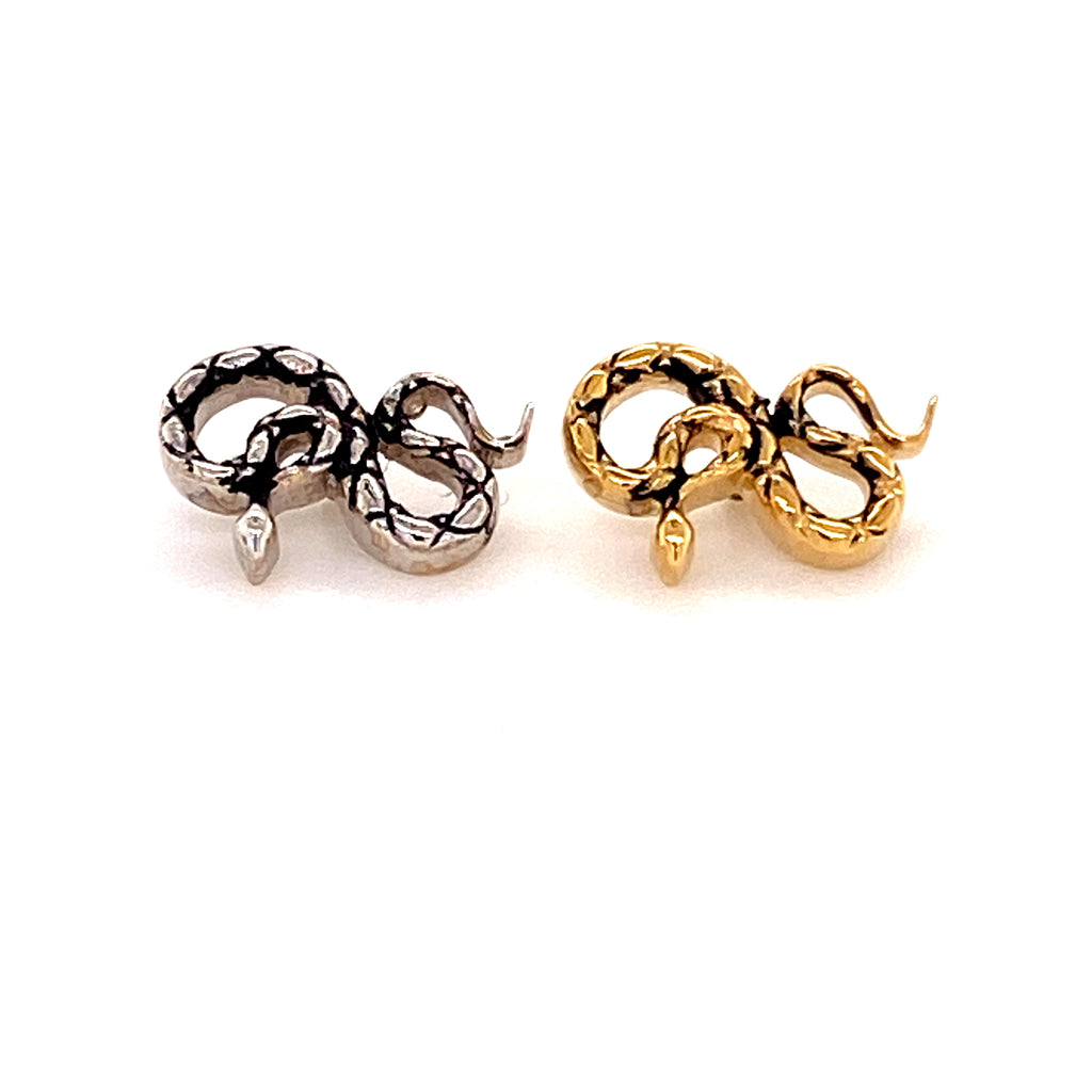 BVLA 14k gold Threaded End Coiled Snake with Antiqued Body