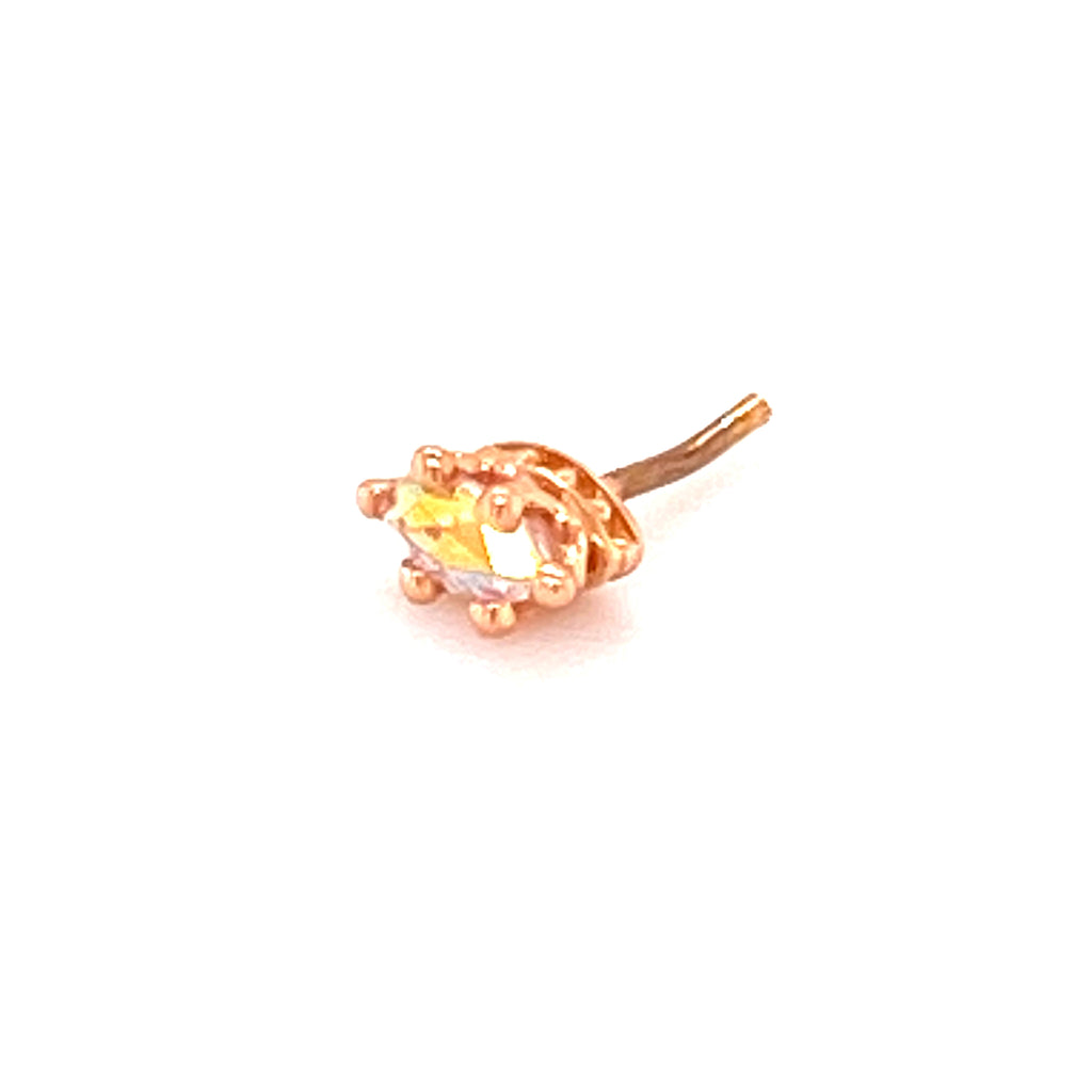BVLA 14k Gold Threadless End Crown Prong Marquise  Genuine Mercury Mist Topaz
