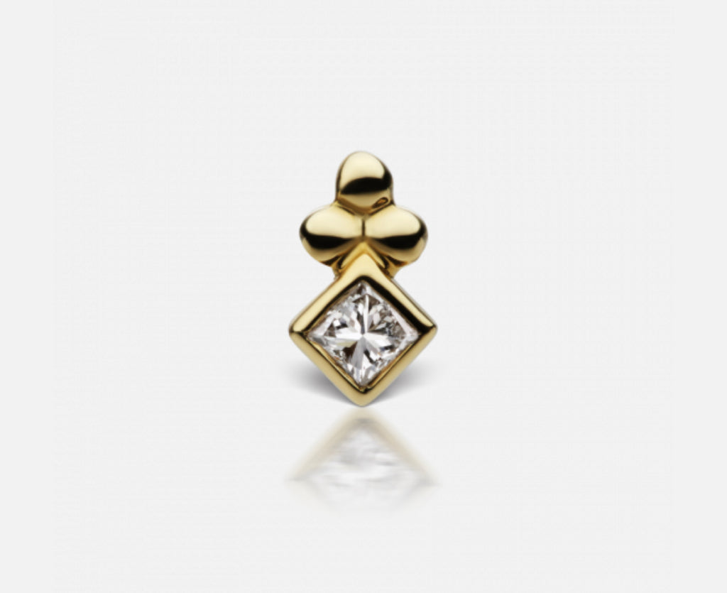 Maria Tash Diamond Princess Cut Ball Trinity Stud