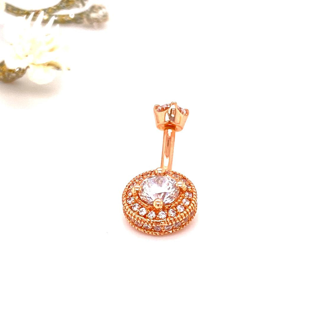 BVLA 14k Rose Gold Round Halo Curved Navel Barbell with CZ