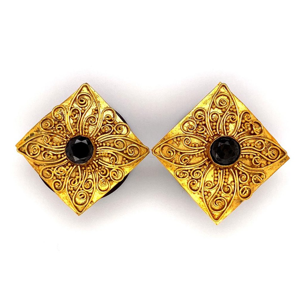24k Gold Plated Artisan Ornate Plugs - 1 inch