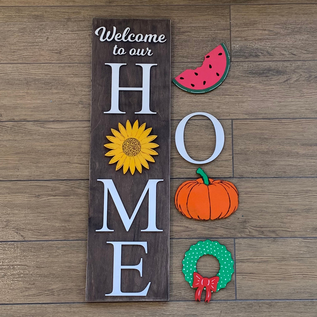 Welcome to our home interchangeable wood sign!