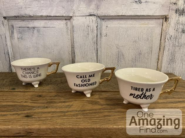 Stoneware Footed Teacup with Saying