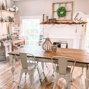 Handmade farmhouse table, home decor, cottage design, and farmhouse style