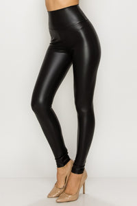 Hi Waist Faux Leather Leggings