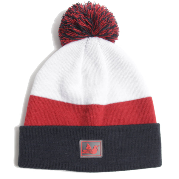 Stripe Beanie Navy Red White