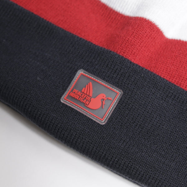 Stripe Beanie NP Navy Red White - Peaceful Hooligan