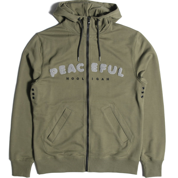 Chenille Hoodie Olive - Peaceful Hooligan