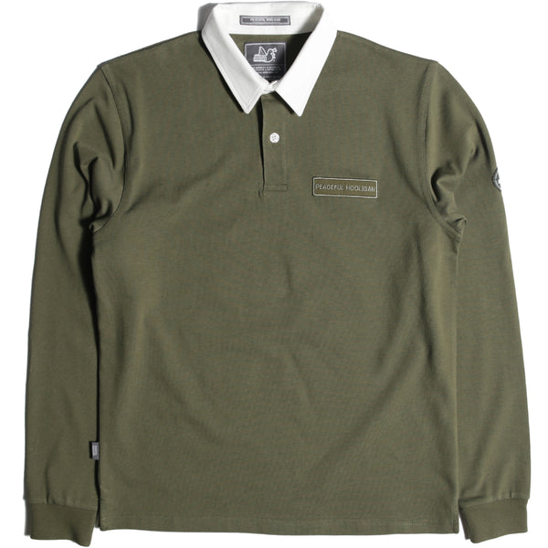 Plain Rugby Shirt Khaki - Peaceful Hooligan