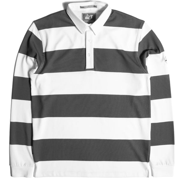 Stripe Rugby Shirt White / Khaki - Peaceful Hooligan