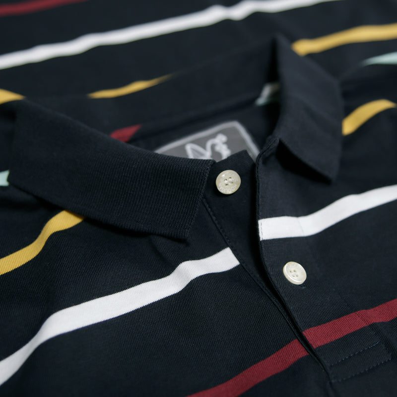 Addison Polo Navy Stripe - Peaceful Hooligan