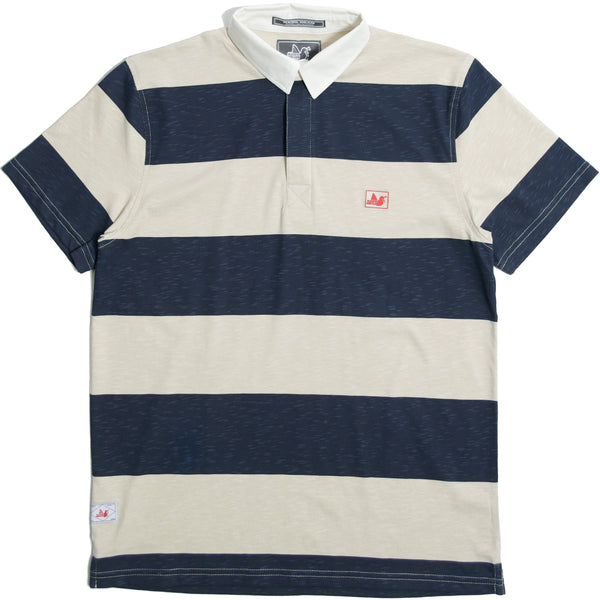 Hamilton Rugby Shirt Oyster/ Navy - Peaceful Hooligan