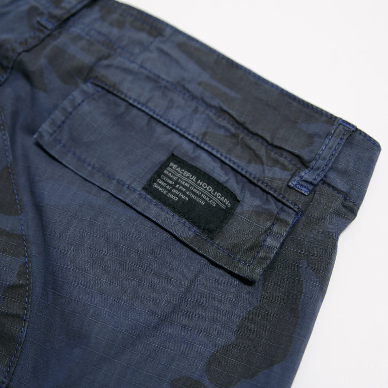 Container Ripstop Shorts Navy Camo - Peaceful Hooligan