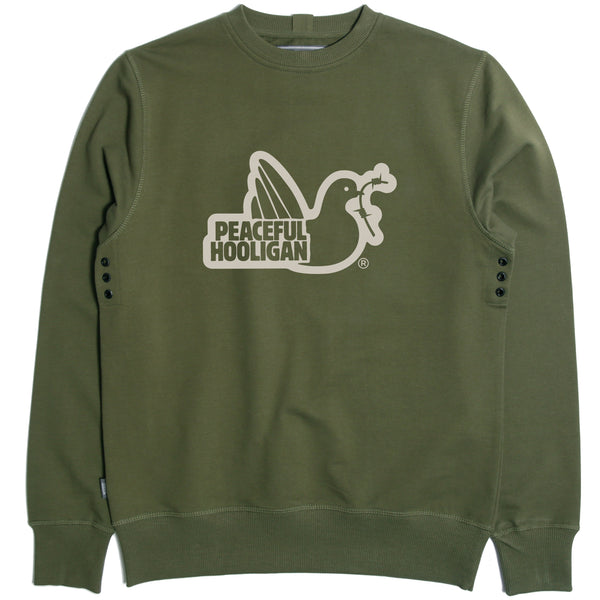 Outline Sweatshirt Olive - Peaceful Hooligan