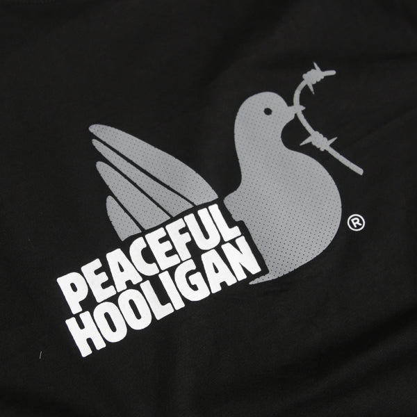 2 Colour Dove T-Shirt Black - Peaceful Hooligan