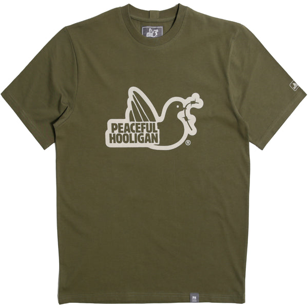Outline T-Shirt Olive - Peaceful Hooligan