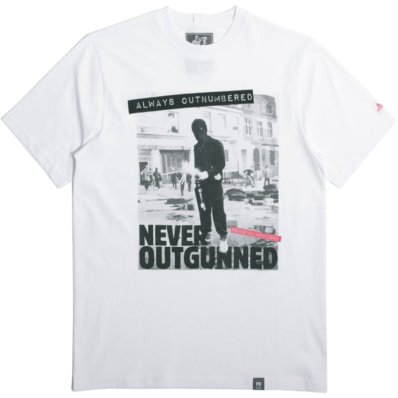 Outnumbered T-Shirt White - Peaceful Hooligan