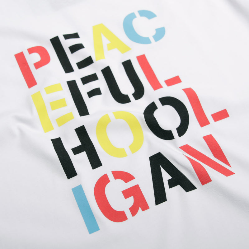 Stencil T-Shirt White - Peaceful Hooligan