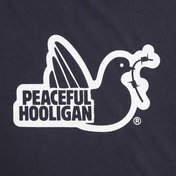 Outline Hoodie Navy - Peaceful Hooligan