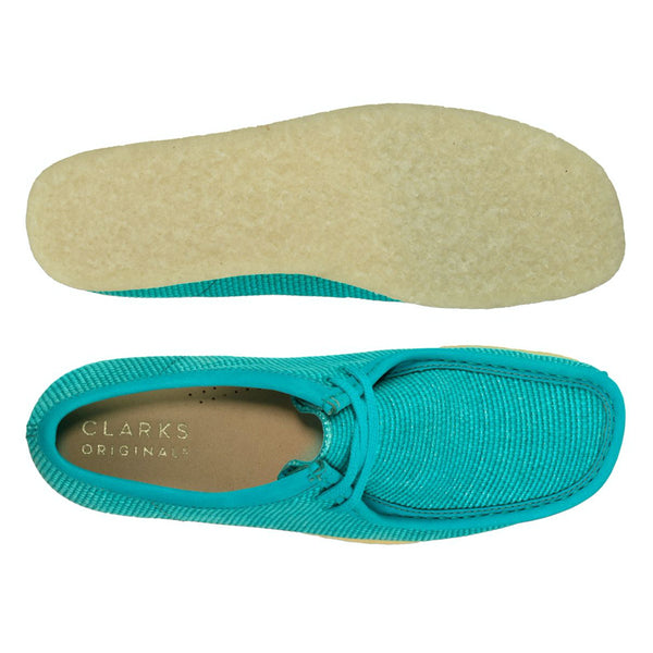 Clarks Originals Wallabee Shoes Teal Textile - Peaceful Hooligan