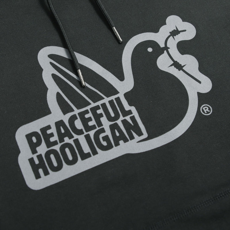 Outline Hoodie Black - Peaceful Hooligan