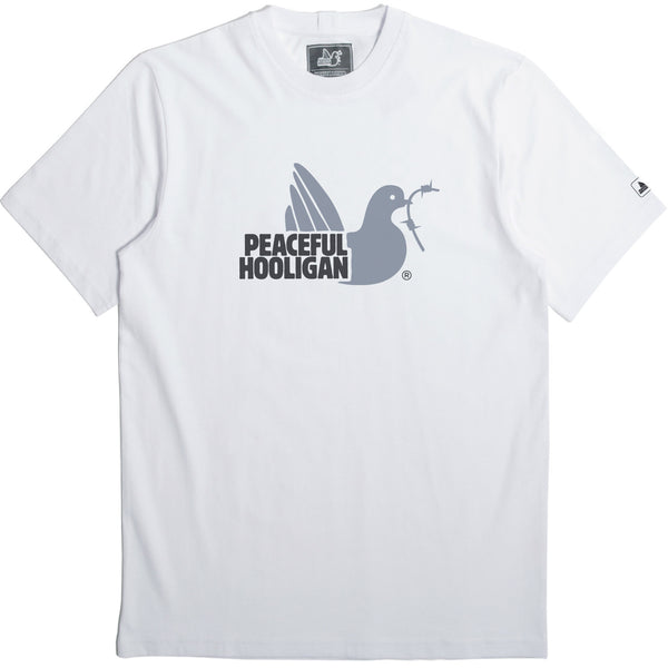 2 Colour Dove T-Shirt White - Peaceful Hooligan