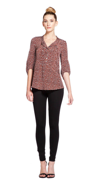 Annie Griffin Collection Herring Blouse in Leopard
