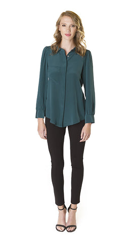 Annie Griffin Collection Brett Blouse in Hunter Green