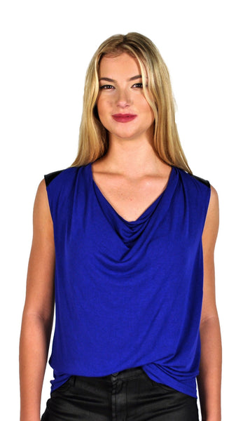 Ella Moss Icon Jersey Tank with Pleather Detailing