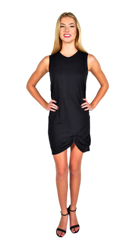 Zoe Karssen Knot Detail Muscle Tank Dress in Pirate Black