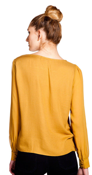 Ella Moss Stella Sheer Sleeve Top in Brass