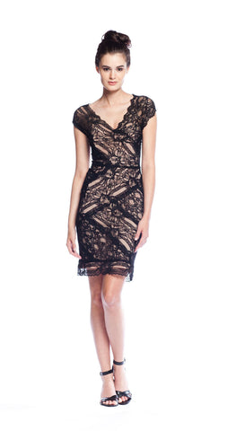 Nicole Miller Cap Sleeve Stretch Lace Dress in Black