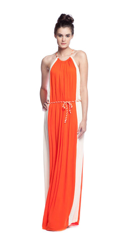 Ella Moss Stella Twist Strap Dress in Persimmon/Nude