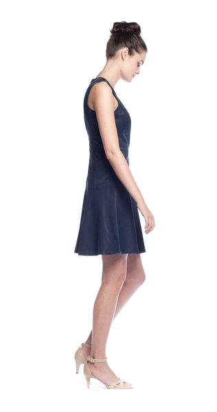 Rebecca Taylor V-Neck Poplin Dress in Dark Navy