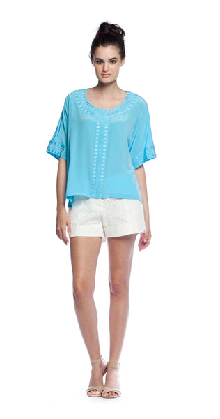 Annie Griffin Collection Hadley Blouse in Aqua