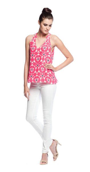 Annie Griffin Collection Maggie Tank in Pink Lace Print