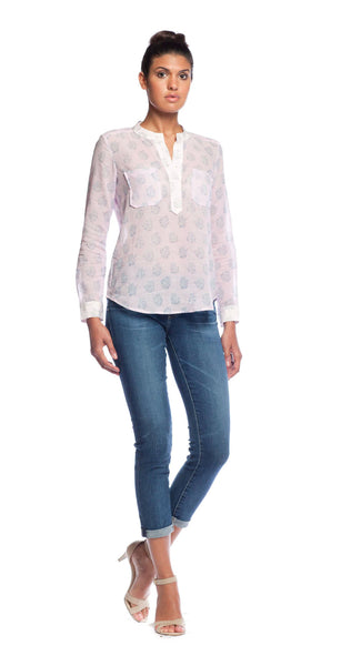 Rebecca Taylor Block Print Double Pocket Top in Iris