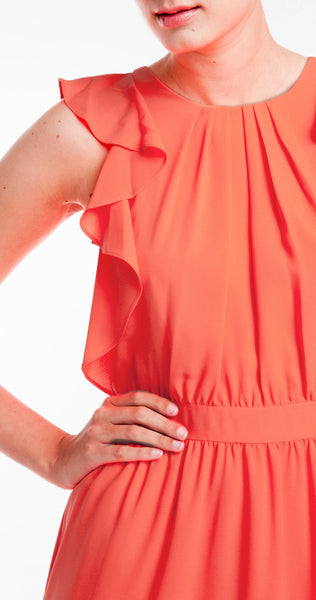 Shoshanna Katrina Dress in Neon Coral