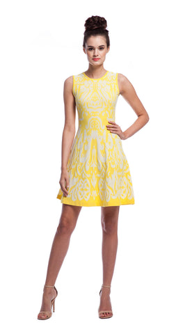 Shoshanna Ikat Becky Sweater Dress in Lemon Drop