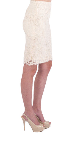 Nicole Miller Embroidered Mesh Pencil Skirt